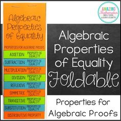 This foldable includes all the Algebraic Properties of Equality that are used for Algebraic Proofs in a High School Geometry classroom. It is the perfect way to start your unit on Algebraic & Geometric Proofs. Each page has the definition of the property and 1-2 examples to be worked through as a class.The following Properties of Real Numbers are included:Addition Property of EqualitySubtraction Property of EqualityMultiplication Property of EqualityDivision Property of EqualityReflexiv...