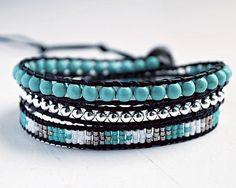 Hey, I found this really awesome Etsy listing at https://www.etsy.com/listing/197041550/turquoise-wrap-bracelet-black-leather
