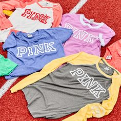Cute new tees? Yes, please. Essential PINK tees for campus.