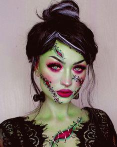 Creepy Halloween Makeup, Halloween Looks, Halloween Kostüm, Frankenstein Halloween, Bride Of Frankenstein Makeup, Fantasias Halloween, Theatrical Makeup, Creative Makeup Looks, Cosplay Makeup