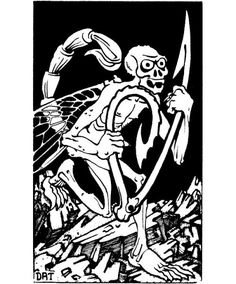 """Bone devils populate the lower planes of Hell."" (Dave Trampier, AD&D Monster Manual by Gary Gygax, TSR, Advanced Dungeons And Dragons, Dungeons And Dragons Game, Dream Fantasy, Fantasy Rpg, Fantasy Drawings, Cool Drawings, Dcc Rpg, Nostalgia Art, Black And White Artwork"