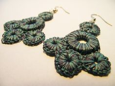 Cotton Crocheted Industrial Washer Scalloped Earrings