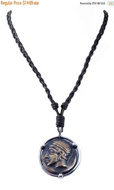 SALE Braided Leather Ancient Coin Necklace - Goddess ARTemis - Sterling Silver by ARTemisDesignsLLC on Etsy https://www.etsy.com/listing/203765651/sale-braided-leather-ancient-coin