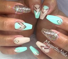Teal, nude, and gold glitter