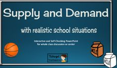 This Supply and Demand PowerPoint has 10 Realistic school situations in which the student chooses between High Demand/Low Supply or Low Demand/High Supply. There is also a cut and paste sorting activity with the exact same scenarios in the larger file  to use for reinforcement if desired. This PowerPoint is will help you deliver a captivating presentation