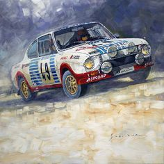 Painting - 1977 Rallye Monte Carlo Skoda 130 Rs Blahna Hlavka Winner by Yuriy Shevchuk , Art Logo, Illustrations, Design Inspiration, Racing, Fine Art, Art Prints, Canvas, Gallery, Paintings