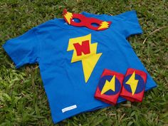 Super Hero TShirt Mask and Arm Bands by mylittleherodesigns, $35.00