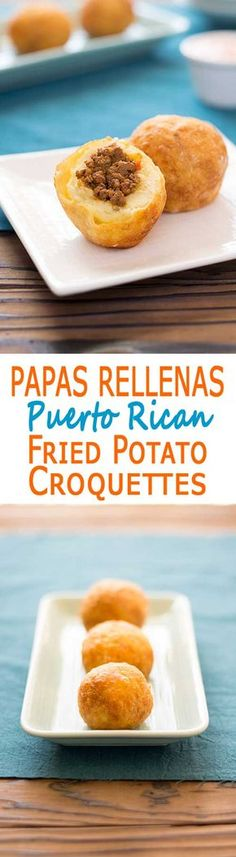 Puerto Rican Papas Rellenas - mashed potato croquettes filled with picadillo (ground beef hash) and fried to golden perfection! | Kitchen Gidget