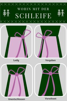 Where to tie the bow of your dirndl apron - from left to right: Single, taken, undecided, widowed. Although there's also a version where a bow tied in the middle front means virgin.