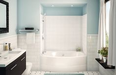 AKER. GTWT-4260. One-piece gelcoated fiberglass tub-shower with 6 in. simulated tile pattern. Built-in back wall shelves and standard clear acrylic bar when ordered with R/L drain. Right, left-hand or back center drain. Textured floor. Alcove installation.