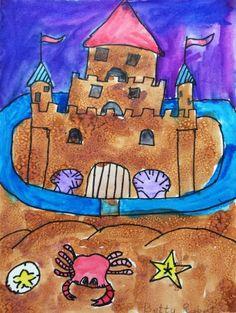 Sand Castle Salt and Watercolor Painting Art Lesson
