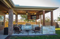 Custom Outdoor Covered Patio Such a unique piece! Tongue and Groove ceiling, custom cabinets to hide the outdoor television, cozy patio furniture, and the best part of all, a built in fire table! Backyard Covered Patios, Covered Patio Design, Backyard Patio Designs, Backyard Pergola, Pergola Ideas, Patio Ideas, Small Pergola, Wooden Pergola, Outdoor Kitchen Patio