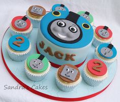 @Carrie Mcknelly Coleman Campbell for Cadens bday? Thomas cake & cupcakes