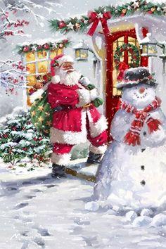 Wow beautiful Christmas Scenes, Noel Christmas, Retro Christmas, Christmas Colors, Winter Christmas, Christmas Crafts, Christmas Decorations, Magical Christmas, Father Christmas
