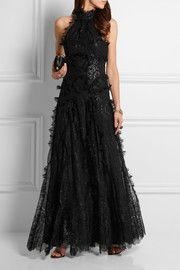 Alexander McQueenHalterneck metallic lace gown