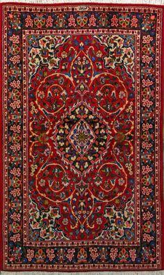 "Qum Persian Rug, Buy Handmade Qum Persian Rug 4' 1"" x 6' 9"", Authentic Persian Rug"