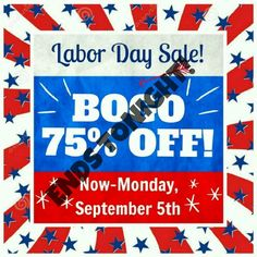 🎉BOGO 75% OFF SALE!               **NO HOLDS!** LABOR DAY SALE!!   ⚠NO HOLDS!⚠  **Everything in my closet is BOGO 75% OFF!   Ends Monday, September 5th, at 12 am pacific.   ⚠As long as you let me know what you want by that time/date👆, I'll honor it (In case I'm not online).⚠  *You must pay asking price to get the 75% off discount.  *The least expensive item is the 75% off item.  *I HAVE TO SET UP THE BUNDLE FOR YOU TO GET THE DISCOUNT. PLEASE TAG & MESSAGE ME ON WHAT YOU WANT.  *The 15%…