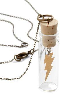 Harry Potter necklace jar lightening jewelry cork