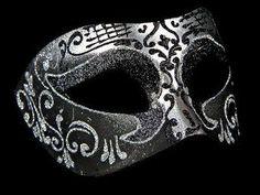 Settecento Venetian Masquerade Mask - Silver Black