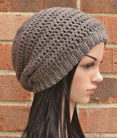 Crochet Slouchy Beanie Button Hat Womens // THE by AlyseCrochet