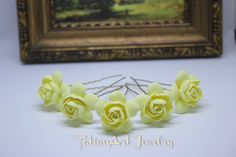 Bridal hair pins Gardenias Wedding accessory Hair bridal flowers Bridesmaid hair pin set Flower girl gift hairpin Bridal hair pin set 5pcs. di TatianArtJewelry su Etsy