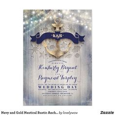 Navy and Gold Nautical Rustic Anchor Beach Wedding Invitation Coastal or seaside wedding invitations feature gold foil anchor, navy blue monogram, string of lights and driftwood background Nautical Wedding Invitations, Rehearsal Dinner Invitations, Engagement Party Invitations, Baby Shower Invitations For Boys, Wedding Invitation Cards, Bridal Shower Invitations, Birthday Party Invitations, Wedding Stationery, Wedding Cards