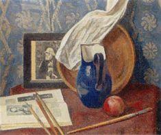Alexandre Blanchet - Nature morte au pot bleu et la photographie de Degas, 1952 - Huile sur toile, 54 x 65 cm.