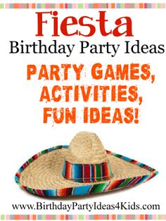 Mexican Fiesta theme Birthday Party Ideas Fun ideas, party games, activities, party food, decoration and many more ideas all with a Fiesta theme! http://www.birthdaypartyideas4kids.com/mexican-fiesta-party-ideas.htm For kids, tweens and teens ages 1, 2, 3, 4, 5, 6, 7, 8, 9, 10, 11, 12, 13, 14, 15, 16, 17 and 18 years old.