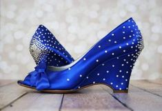 Ideas Wedding Shoes Blue Wedges Bridesmaid For 2019 Royal Blue Wedding Shoes, Rhinestone Wedding Shoes, Wedge Wedding Shoes, Rhinestone Heels, Wedding Heels, Wedding Blue, Wedding Dresses, Prom Dresses, Royal Blue Wedges