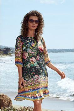 Bohemian Look, Boho Chic, Tea Length Dresses, Patchwork Dress, Feminine Dress, Johnny Was, Tiered Dress, Boho Dress, Minimal Jewelry
