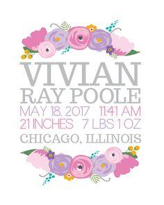 Custom Floral Name & Birth Stat Print  8x10  Nursery Art