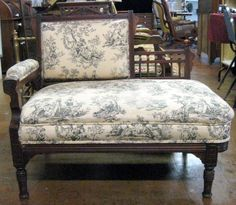 Walnut Victorian settee with contemporary colonial style upholstery. Victorian Love Seats, Settee, Antique Furniture, Accent Chairs, Upholstery, Auction, Contemporary, Antiques, House