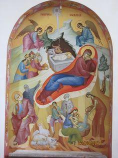 Pictura al secco Church Interior, Interior And Exterior, Holy Mary, Christmas, Painting, Art, Birth, Byzantine, Santa Maria