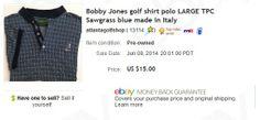 Bobby Jones golf shirt - $3 at garage sale, sold for $15