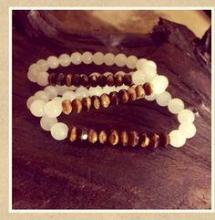 GABRIELLES BRACELETS White Quartzite 8mm stone,amber glass #GabriellesBraceletsdesing #Beaded