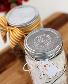 DIY Foil Mason Jar Lids; something like mexican wedding cakes would be cute packaged like this