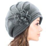 Dahlia Women's Elegant Flower Wool Cloche Bucket Slouch Hat.  •100% Wool •Elegant Flower Wool Bucket Slouch Hat - Width: 10.75 inches, Height: 8.5 inchesClassic Simple Bow Wool Beret Hat - Width: 10.75 inches •Each style hat is available in various colors: Light Gray, Brown, Red, Teal Blue, Tan, Purple. Available at http://buyfascinatorhats.com