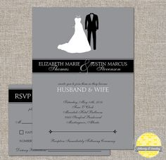 printable wedding invitation set  - bride and groom - diy by yellowbrickstudio, starting at $18.00