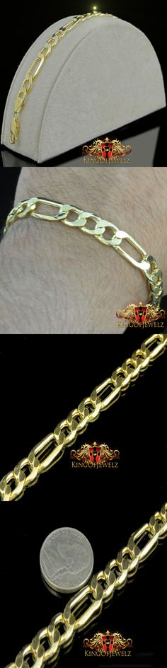 Precious Metal without Stones 164313: Men S 10K 100% Real Solid Yellow Gold Marked Figaro Link 7 Inch Bracelet 7Mm -> BUY IT NOW ONLY: $134.95 on eBay!