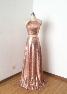 elegant two piece halter prom dress with sequins, shiny sequined pink party dress