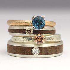 diamond rings Wood Inlay Rings, Wood Rings, Bespoke Jewellery, Contemporary Jewellery, Handmade Engagement Rings, Wedding In The Woods, Jewelry Companies, Diamond Rings, Handmade Jewelry