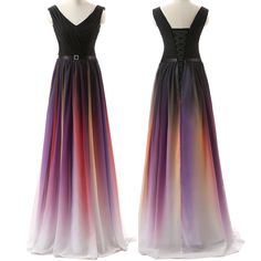 Ombre Custom Made Charming Prom Dress,Formal Dresses,Chiffon Evening Dresses On Sale, PK3
