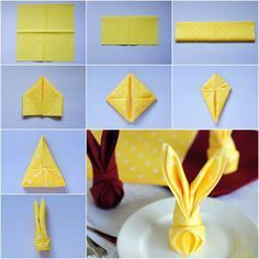 How to Fold Bunny Napkin DIY Tutorial Uniquely folded and decorated napkins give extra beauty to the table setting. I have featured a couple of napkin folding projects on my site, such as butterfly napkin, polo shirt napkin and artichoke Easter Crafts, Holiday Crafts, Bunny Crafts, Bunny Napkin Fold, Easter Table Decorations, Diy Decoration, Easter Table Settings, Easter Party, Easter Bunny