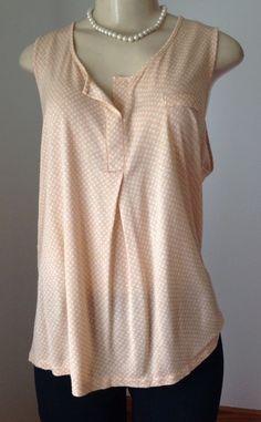 Ann Taylor XL Peach White Geometric Pattern Assymetric Hem 100 Rayon Casual GUC | eBay