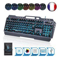 KLIM Lightning - NEU - hybrid halbmechanische Tastatur AZERTY Französisch + sieben verschiedene Farben + 5-Jahre Garantie - Metallstruktur - Gamer Gaming-Tastatur für Videospiele PC Windows, Mac  EUR 39,90