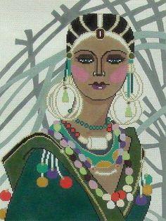 0 point de croix  femme et bijoux - cross stitch lady and jewels