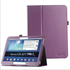 Stand Leather protective case Samsung Galaxy Tab 3 Standing Leather protective case Samsung Galaxy Tab 3 Slim Fit Leather Standing Protective Folio Case Cover for Samsung Galaxy Tab 3 with Auto Sleep/Wake Feature Will come with an extra HD screen protector  Brand new Purple $15 Accessories