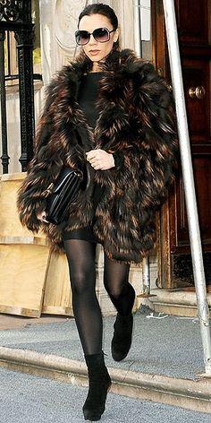 Victoria Beckham, Fur coat.