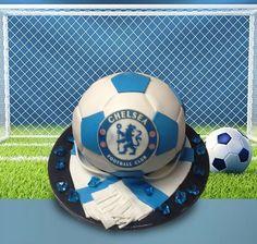 Chelsea Football Cake by MsTreatz - http://cakesdecor.com/cakes/286623-chelsea-football-cake