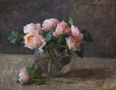 Michael Klein, Pink English Roses, oil, 12 x 15, Maxwell Alexander Gallery.